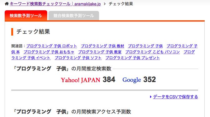 aramakijakeでキーワードを調査